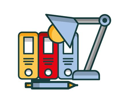 organizing folder with lamp vector illustration design Illustration