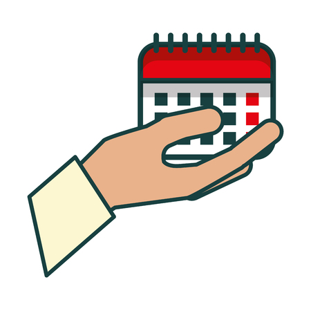 hand with calendar reminder isolated icon vector illustration design Illustration