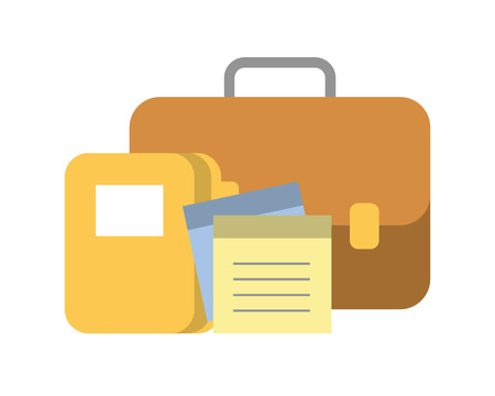 portfolio briefcase with document and folder vector illustration