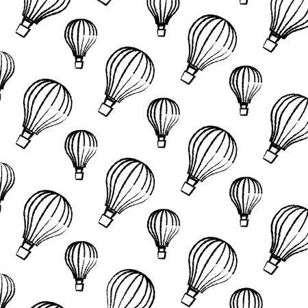 balloons air hot flying pattern background vector illustration design