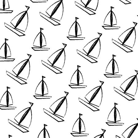 sail boats pattern background vector illustration design