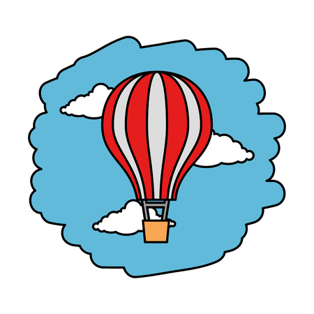balloon air hot flying on sky vector illustration design