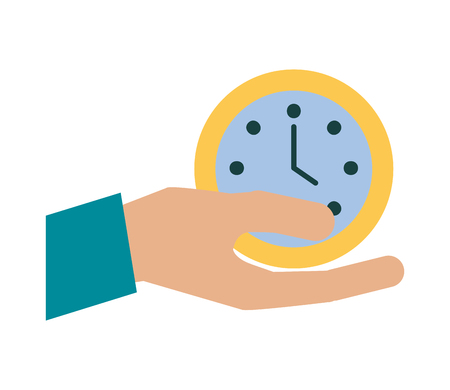 hand with time clock vector illustration design