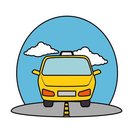 öffentlicher Dienst des Taxis auf Straßenvektorillustrationsentwurf