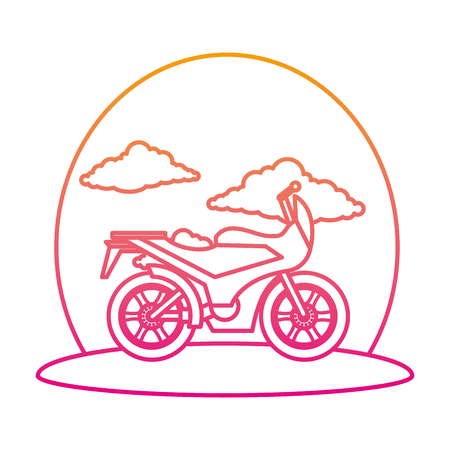 motorcycle sport on the road vector illustration design