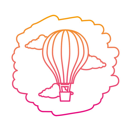 balloon air hot flying on sky vector illustration design
