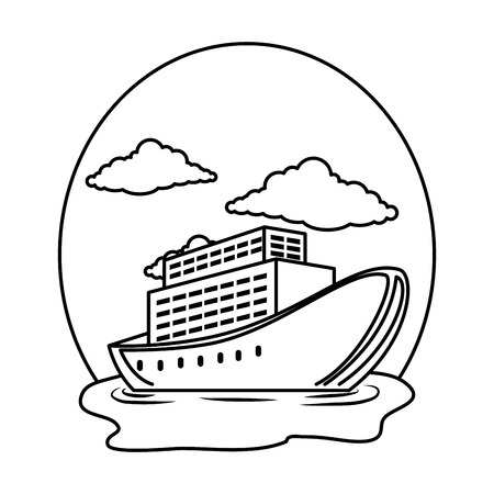cruice ship on the sea vector illustration design