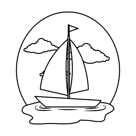 sail boat on the sea vector illustration design