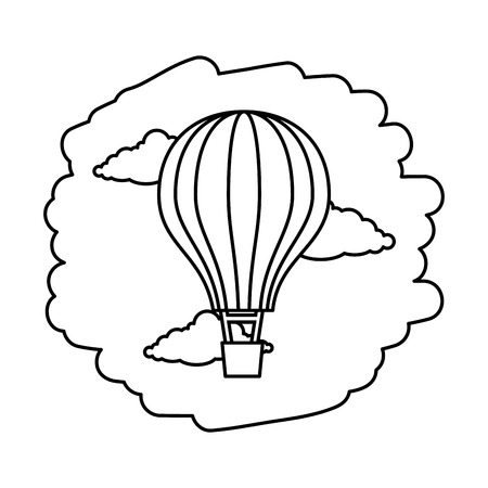 Globo de aire caliente volando en el cielo, diseño de ilustraciones vectoriales Ilustración de vector
