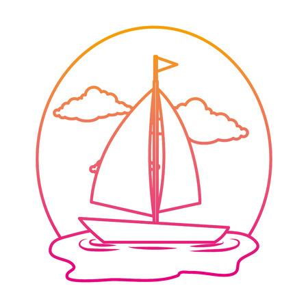 sail boat on the sea vector illustration design