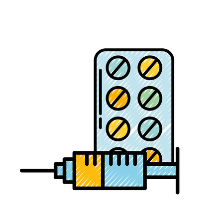 medication packaging pills and syringe vector illustration