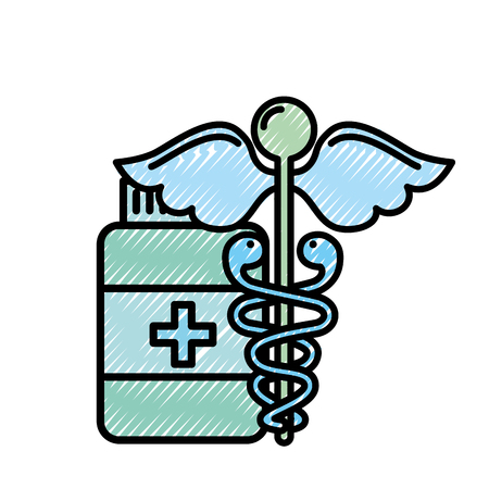 caduceus medical emblem bottle capsule pharmacy vector illustration