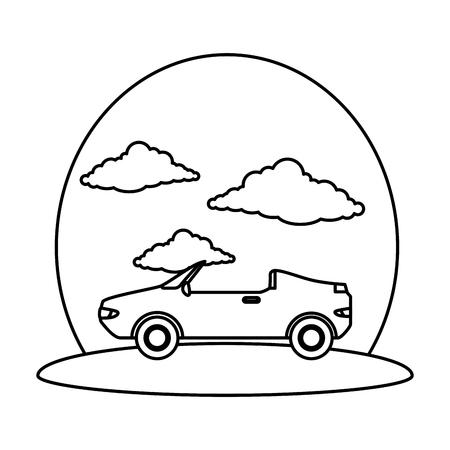 véhicule de voiture décapotable sur la conception d & # 39; illustration vectorielle route