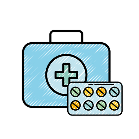 medical kit first aid medication pills vector illustration