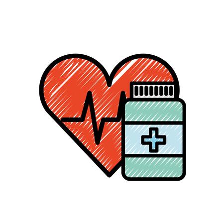 farmaco farmacia bottiglia pillole cura del cuore illustrazione vettoriale Vettoriali