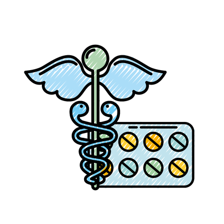 caduceus medical packaging pills healthcare vector illustration