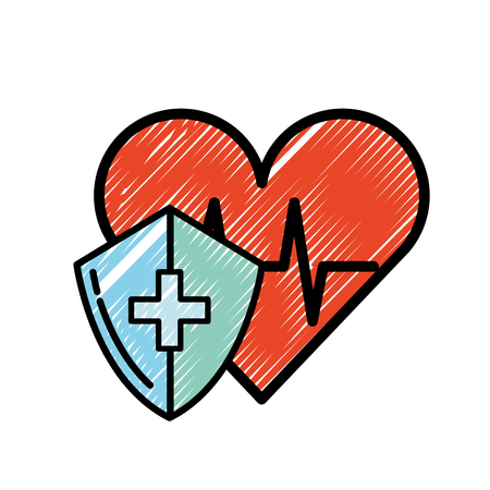 medical shield protection heart rate cardiology vector illustration Çizim