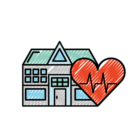 hospital building heart rate health care vector illustration Ilustrace