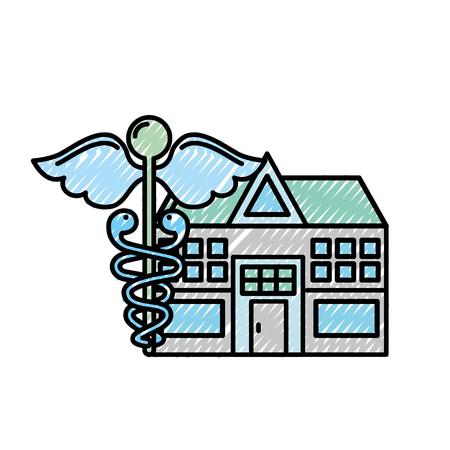 Caduceus Krankenhaus Gebäude Gesundheitswesen Medizin Vektor-Illustration