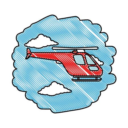 helicopter flying on the sky vector illustration design Çizim
