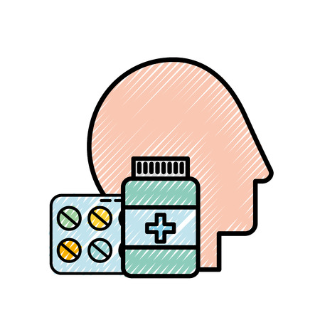 profile human head medicine pharmacy pills bottle vector illustration  イラスト・ベクター素材