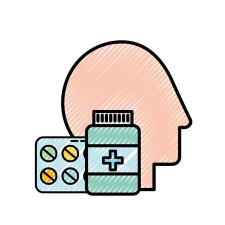 Profilo testa umana medicina farmacia pillole bottiglia illustrazione vettoriale Vettoriali