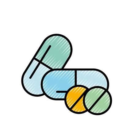 medicine capsule pills pharmacy treatment vector illustration