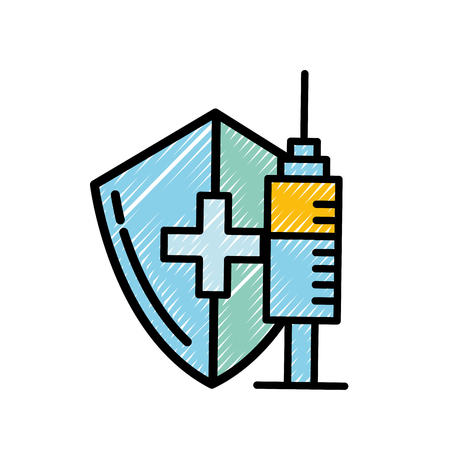 medical shield protection and syringe care vector illustration