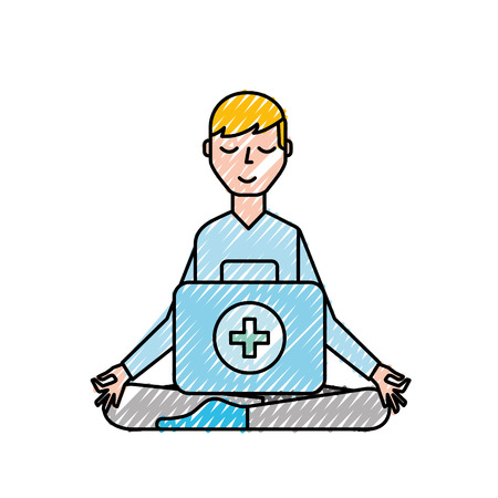 man sitting in meditation with kit first aid vector illustration