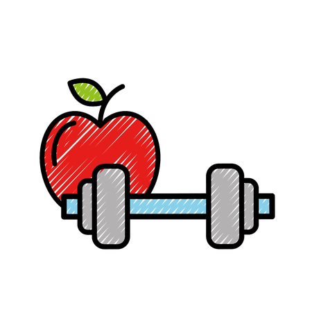 healthcare lifestyle weight barbell and apple vector illustration Stok Fotoğraf - 109992071