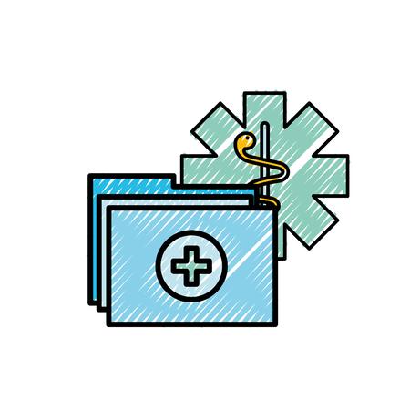 caduceo, carpeta médica, informe, documentos, vector, ilustración