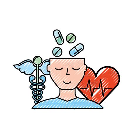 human profile pills mental heartbeat caduceus vector illustration