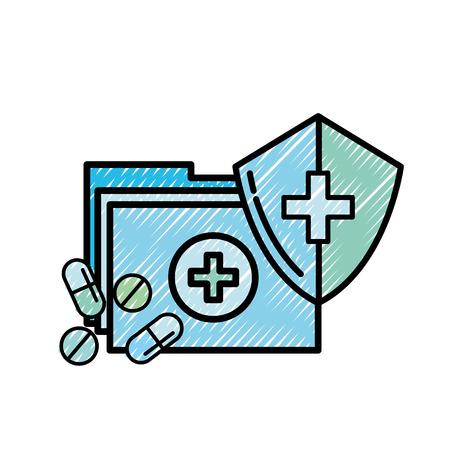 medical folder and pills shield protection vector illustration Ilustracja