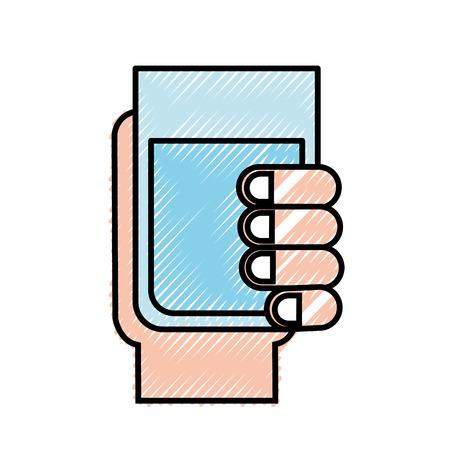 hand holding water glass beverage vector illustration