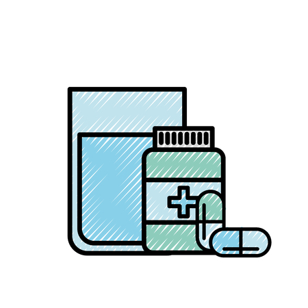 medical bottle prescription pills with water glass vector illustration Illustration