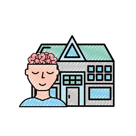 human portrait brain mental hospital health vector illustration Illustration