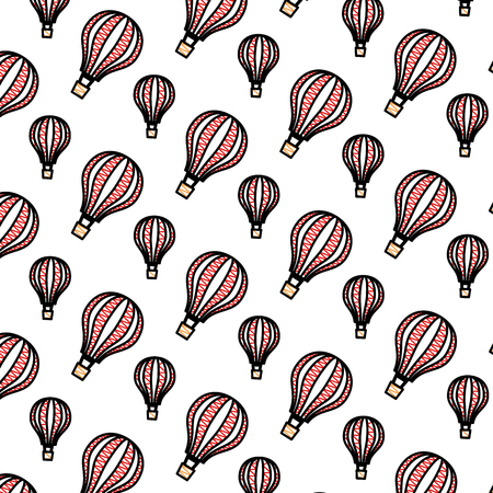 balloons air hot flying pattern background vector illustration design