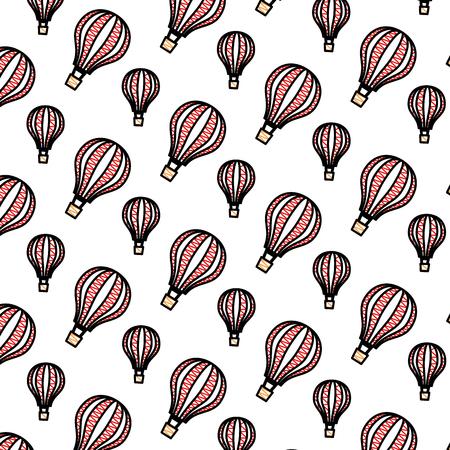 balloons air hot flying pattern background vector illustration design 写真素材 - 109992087