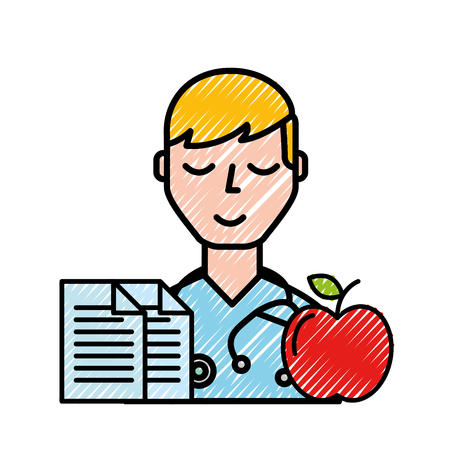 doctor portrait documents and apple healthcare vector illustration