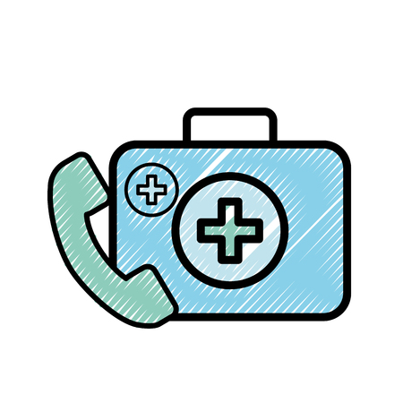 medical telephone service kit first aid vector illustration Banque d'images - 108256983