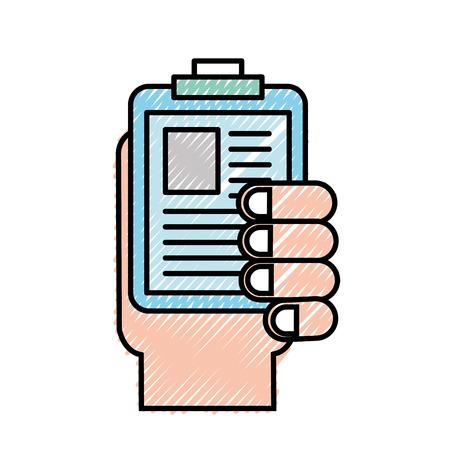 hand holding clipboard medical document vector illustration Çizim