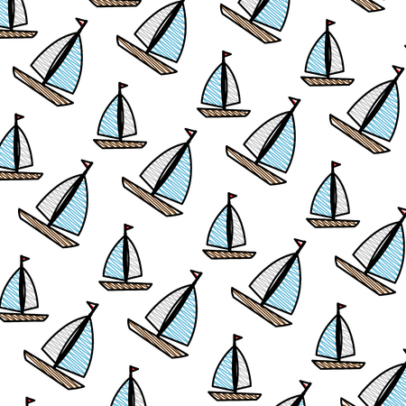 sail boats pattern background vector illustration design Archivio Fotografico - 109992094