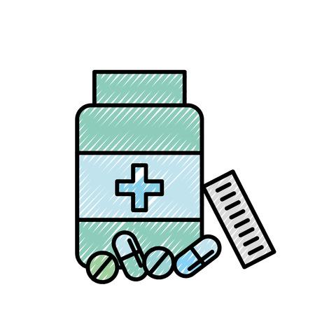 open bottle pills medicine healthcare vector illustration