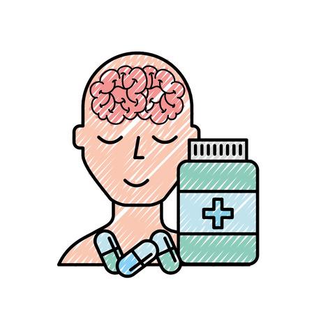 portrait human character mental brain bottle medicine capsule vector illustration