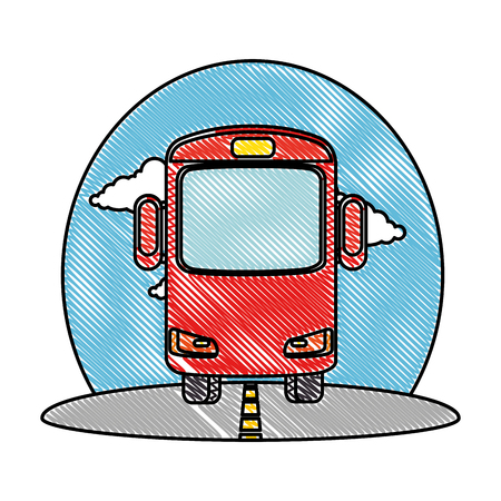 bus vehicle on the road vector illustration design