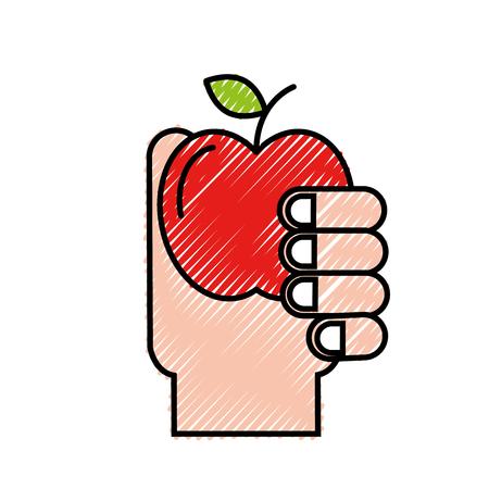 hand holding fruit apple healthcare vector illustration