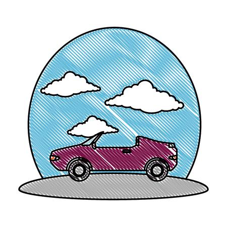 convertible car vehicle on the road vector illustration design Standard-Bild - 109992104