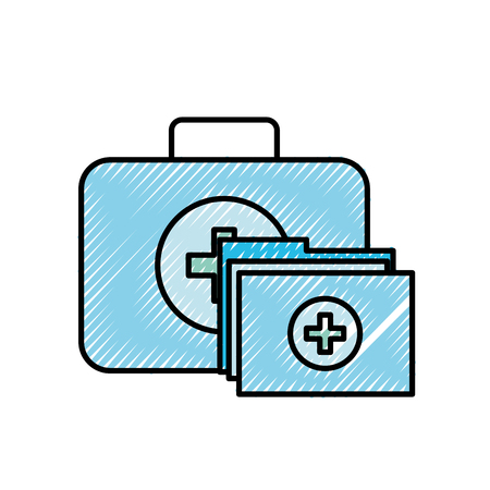 kit first aid folder report medical vector illustration