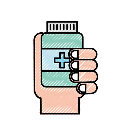 hand holding bottle medicine healthcare vector illustration Banco de Imagens - 109992108