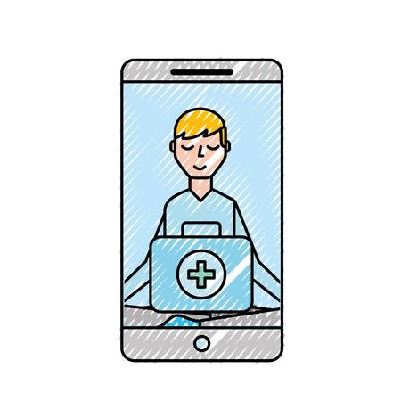 smartphone man meditation medical app vector illustration Banque d'images - 109992113